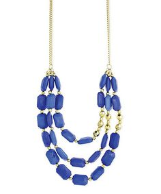 Love this Gold & Blue Rectangle Bead Necklace by ZAD on #zulily! #zulilyfinds