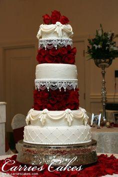 Indian Weddings Inspirations. Red Wedding Cake. Repinned by #indianweddingsmag http://etsy.me/1BV5L8E #weddingcake
