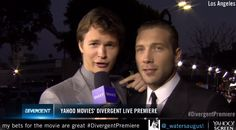 Jai Courtney just crashed Ansel Elgort's interview #DivergentPremiere 2 handsome dudes in one picture!