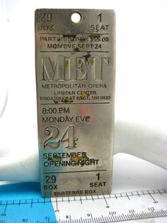 Metropolitan Opera Parterre Box 29 Metal Ticket Key Holder Vintage 1980s