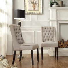 The Alya hostess chair set features shallow side wings and button-tufted back, that is versatile enough to accommodate the different decor in any home. Deep seat and back cushions with a solid hardwood frame makes a comfortable spot for you to enjoy.