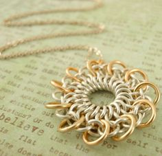 Sterling Silver and 14kt Gold Filled Necklace KIT - Stunning Chainmaille Pendant - Tatted Lace. $ 40.00, via Etsy.
