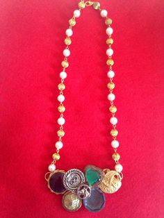 """Vintage button necklace """"Confidence"""" by GirlyCutie. It's handmade item and very unique and stylish. #handmade #vintage #buttons #button_necklace #necklace #etsy #charm #chain #pearl #pearl_chain #gift"""