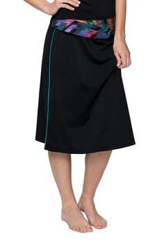 b6f6237bd6 Hydrochic Below the Knee Plus Size Long Swim Skirt also features a hidden  pocket and built-in leggings. All Hydrochic swim skirts are chlorine  resistant and ...
