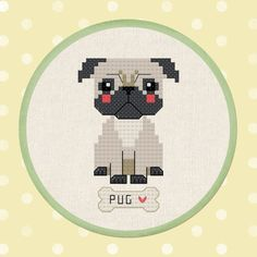 Thrilling Designing Your Own Cross Stitch Embroidery Patterns Ideas. Exhilarating Designing Your Own Cross Stitch Embroidery Patterns Ideas. Counted Cross Stitch Kits, Cross Stitch Charts, Cross Stitch Patterns, Cross Stitching, Cross Stitch Embroidery, Embroidery Patterns, Pug Cross, Bordados E Cia, Cute Pugs