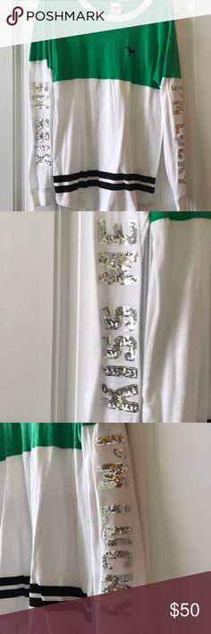 🍀💋Victoria Secret PINK Sequin KISS ME Shirt NWOT Victoria Secret PINK Sequin KISS ME Shirt 💋 NWOT PINK Victoria's Secret Tops