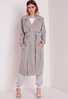 Faux Suede Belted Trench Coat Light Grey - Coats and Jackets - Trench Coats - Missguided