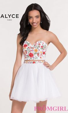 54aba19111e Two-Piece Embroidered Strapless Dress. Formal Dance DressesShort ...