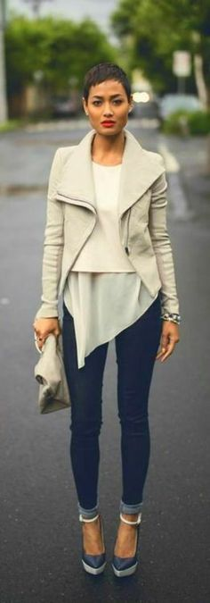 love this whole look / need a neutral cream or beige jacket like this