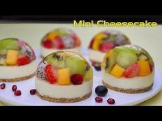 No-Bake / No-Egg / 컵 계량 / 과일 미니 젤리 치즈케이크 / Easy Fruits Mini Jelly Cheesecake Recipe / ASMR - YouTube Jelly Cheesecake, Jelly Cake, Cheesecake Recipes, No Bake Desserts, Delicious Desserts, Whole Wheat Cookies, Bread Cake, Cake Decorating Tips, Desert Recipes