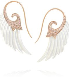 Holy shit. These are amazing and stupid expensinve.  Noor Fares Wing 18-karat rose gold, mother of pearl and diamond earrings