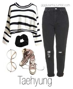 """Coffee Date (Winter) // Taehyung"" by suga-infires ❤ liked on Polyvore featuring Topshop, Retrò and Converse"
