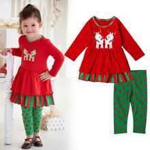 2016 Christmas Children clothes Autumn/spring girl long sleeve dress santa tutu dress+polka dot leggings suit set 2 pieces(China (Mainland))