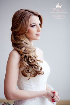 one side half up hairstyle for wedding