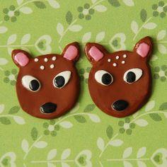 Little Deer Clip on Earrings. £5 + £1 P&P. (Handmade polymer clay jewellery from Little Screechy's Magical Corner)