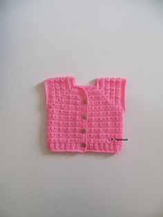Crochet Baby Girls Vest, 2 to 6 Months, Baby girls clothes, Sweater vest, Spring Clothes, cardigan, pink, baby gifts ideas