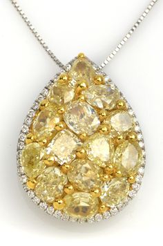 4.73 ctw Yellow Diamond Multi-shape & 0.22 ctw Diamond Round 18K White Gold Pendant - Gem Shopping Network