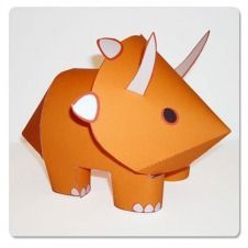 Free Printable Paper Critters! Here's a dino. Click on pics and get the colored pattern to print and cut out! Tons more on this site!
