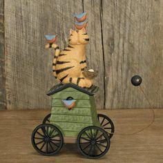 Cat sitting on a Birdhouse Pull Toy Figurine -  Williraye Studio