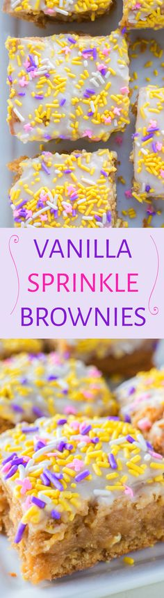 Recipe for delicious Vanilla Sprinkle Brownies With Vanilla Frosting!