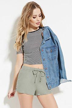 Linen-Blend Drawstring Shorts | Forever 21 - 2000183268