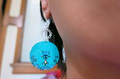 Earrings-turquoise dangle round miniature painted leather and filigree metal work