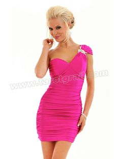 Satin Fuchsia One-Shoulder Sweetheart Neckline Sleeveless Short Party Dress