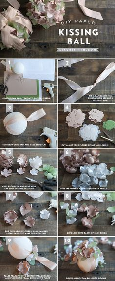 Flowers diy paper kissing ball Ideas for 2019 Paper Flowers Wedding, Crepe Paper Flowers, Fabric Flowers, Paper Flower Ball, Origami, Diy Paper, Paper Crafts, Diy Crafts, Wedding Kiss