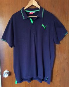 PUMA Polo Chemise Men Size XL Navy Blue Short Sleeve Golf Style 560354 Casual #Puma #PoloRugby