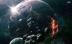 Meteorite circling the imploding planet HD Wallpaper