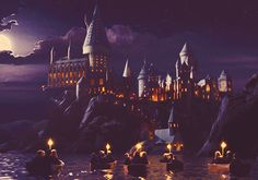 Art to Film: First Sighting of Hogwarts    Concept art.    And the fleet of little boats moved off all at once, gliding across the lake, which was as smooth as glass. Everyone was silent, staring up at the great castle overhead. It towered over them as they sailed nearer and nearer to the cliff on which it stood.