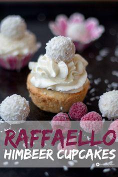 Raffaello-Himbeer-Cupcakes-mit-weißer-Schokolade