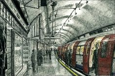 Leicester Square Tube station, London - drawings and paintings by Stephen Wiltshire MBE (closer to Cecil Court) (hp Stephen Wiltshire, Autistic Artist, London Drawing, Train Art, Art Folder, Leicester Square, Amazing Drawings, London Underground, Gcse Art