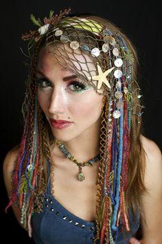 www.etsy.com/shop/lotuscircle lotuscircle, headdress, headdresses, wig, headpiece, dreads, faery, faerie, woodland, forest dweller, goddess, gypsy, fantasy, mermaid, design, handmade, fairyhair, makeup, fashion, design, burningman, ocean headdress, sea goddess, siren