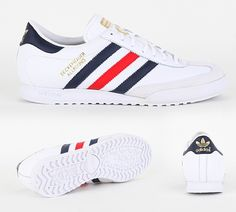 Beckenbauer Trainer  Adidas Originals Beckenbauer Trainer in White Bluebird and Red. The Beckenbauer is as iconic as Franz himself and this version encompasses vintage casual style with a leather upper rubber outsole finished off with Adidas 3 stripe branding to side £44.99 Adidas Classic Trainers, Adidas Mens Trainers, Classic Sneakers