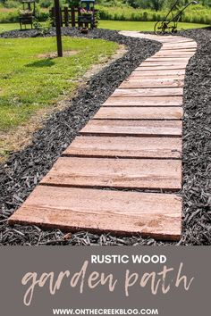 We created this rustic wood pathway using rough cut lumber we stained! Patio Steps, Garden Steps, Garden Paths, Wood Pathway, Wooden Walkways, Outdoor Walkway, Backyard Walkway, Backyard Ideas, Fence Landscaping