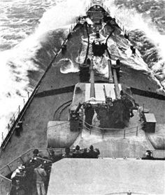 View of 8 in Hipper class heavy cruiser Prinz Eugen's foredeck in rougher weather whilst en route to Norway after the 'Channel Dash', February She was seriously damaged by a British submarine shortly after arrival. Keith Richards, Rolling Stones, Utility Boat, Prinz Eugen, Heavy Cruiser, Capital Ship, Cabin Cruiser, History Page, Boats
