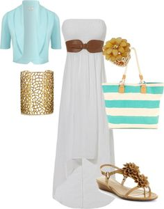 long sun dress, created by emilymarie-94 on Polyvore - love the dress and bag!