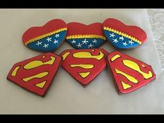 Superman and Wonder Woman Decorated Cookies