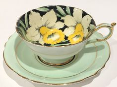 Paragon Tea Cup and Saucer, Hand Painted Cups,Daffodil Chintz Cups, Tea Set, Antique Tea Cups, English Bone China Cups, Yellow Flower Cups by AprilsLuxuries on Etsy