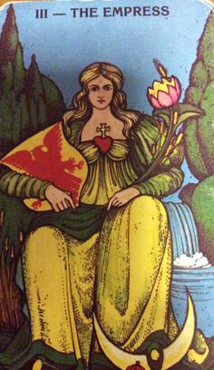 """The Empress from the Morgan Greer Tarot deck created by Bill Greer and Lloyd Morgan.  """"Creativity seems to emerge from multiple experiences, coupled with a well-supported development of personal resources, including a sense of freedom to venture beyond the known."""" ~ Loris Malaguzzi  #Tarot #TarotSingapore #Quote"""