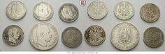 RITTER Preussen, Wilhelm I., 6 Münzen, 1x 5 Mark, 5x 3 Mark 1876-1877 #coins