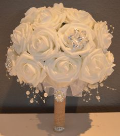 Country Chic Glam Bridal Bouquet with crystal brooches/white foam roses/Brooch Bouquet/Elegant Bouquet on Etsy, $150.00