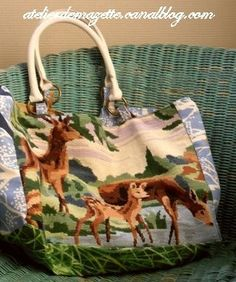 thrifted needlepoint made into bag