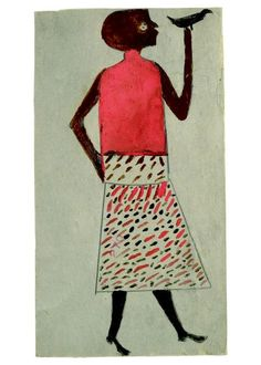 "Courtesy of Mingei International Museum  ""Woman with Bird, ca. 1940-1942"" by Bill Traylor"