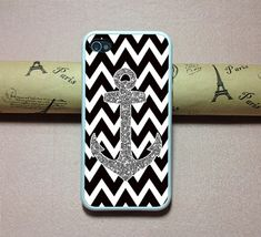 iPhone 5 Case, iPhone 4 Case,iPhone 4s case, iPhone Case, Phone Covers,iPhone hard Case,Anchor Chevron image design ( Not Actual Glitter )