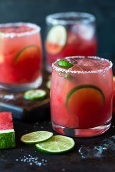 Make Margaritas your drink of summer! Hot summer weather is no match for these refreshing Watermelon Margaritas. Easy to make at home for yourself or for your next backyard BBQ! Grapefruit Margarita Recipe, Easy Margarita Recipe, Watermelon Margarita, Margarita Recipes, How To Make Margaritas, How To Make Drinks, Summer Drinks, Fun Drinks, Beverages
