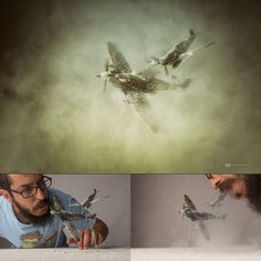 Spitfire Down BTS - The second image of the series... Shot at the studio having some fun with new toys!... Combining effects done in camera in several shots and some post in PS... The smoke and particles are done with cigarette smoke and flour, Focus stacking on camera and post to give it a sense of more reality (scale)... Title.. Spitfire Down. Hope you like it as well.