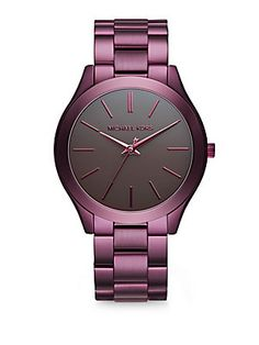 Michael Kors Slim Runway Plum IP Stainless Steel Bracelet Watch - Purp