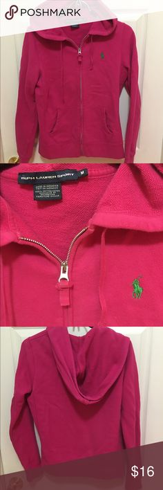 Women's Polo Ralph Lauren Sport Zip Cotton Hoodie Women's Medium Polo Ralph Lauren Sport Zip Cotton Hoodie. Pink with green logo. Used, excellent condition. Perfect to throw on for summer nights. 🌤 Polo by Ralph Lauren Jackets & Coats